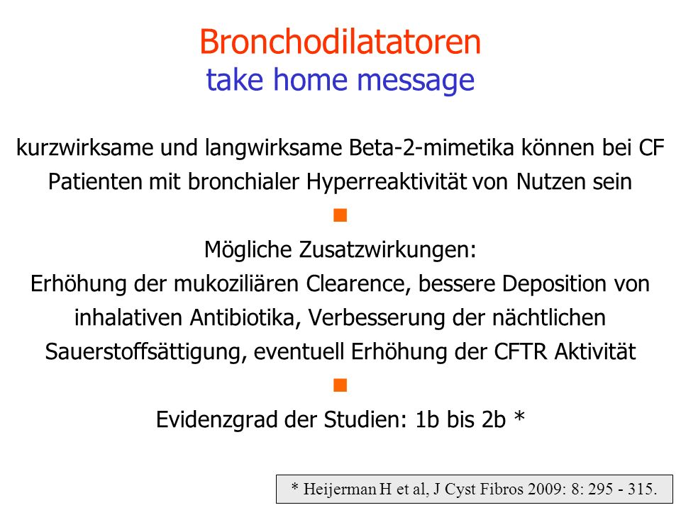 Bronchodilatatoren take home message