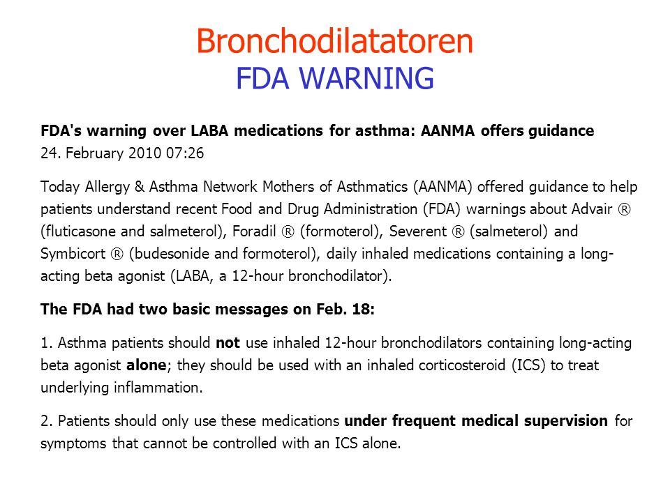 Bronchodilatatoren FDA WARNING