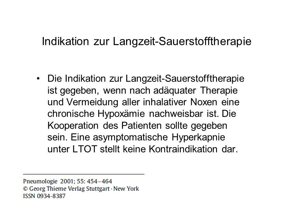 Indikation zur Langzeit-Sauerstofftherapie
