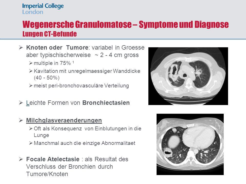 Wegenersche Granulomatose – Symptome und Diagnose Lungen CT-Befunde