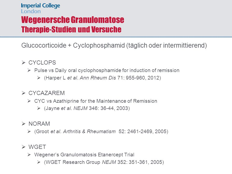 Wegenersche Granulomatose Therapie-Studien und Versuche