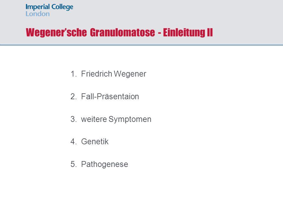 Wegener'sche Granulomatose - Einleitung II