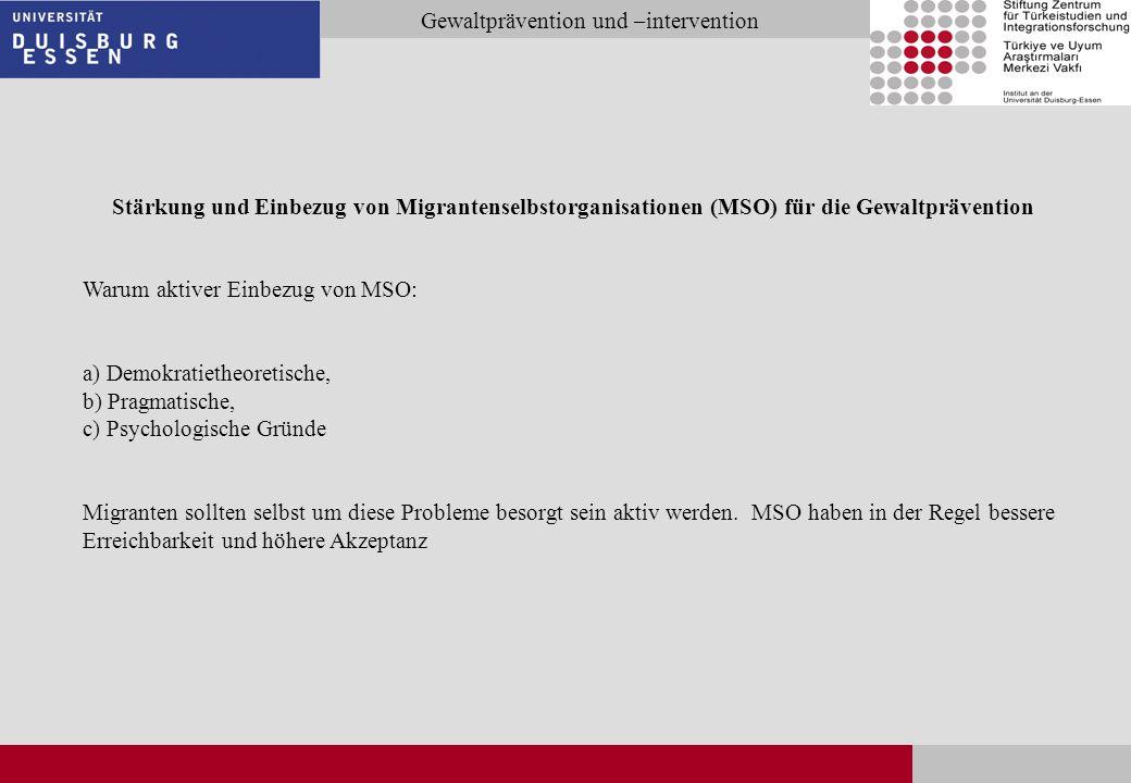Stärkung und Einbezug von Migrantenselbstorganisationen (MSO) für die Gewaltprävention