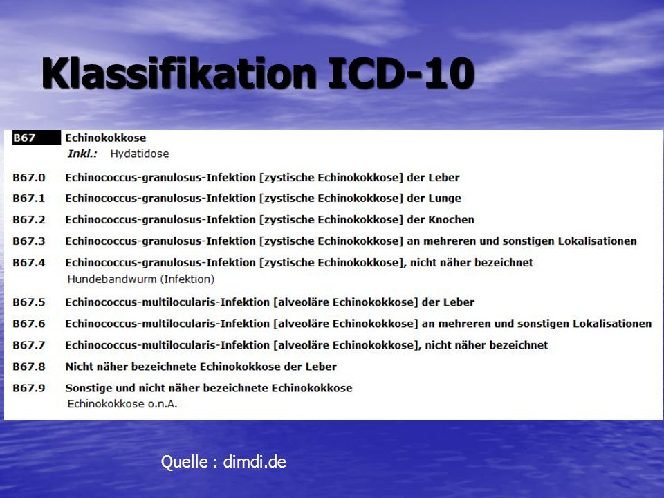 Klassifikation ICD-10 Quelle : dimdi.de