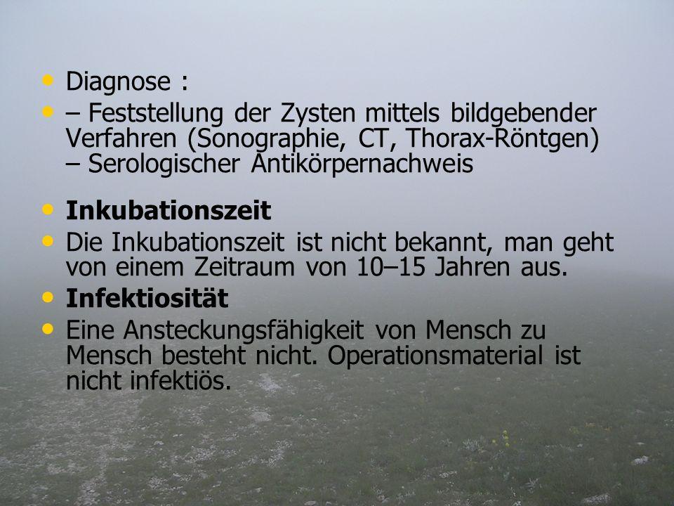 Diagnose :– Feststellung der Zysten mittels bildgebender Verfahren (Sonographie, CT, Thorax-Röntgen) – Serologischer Antikörpernachweis.