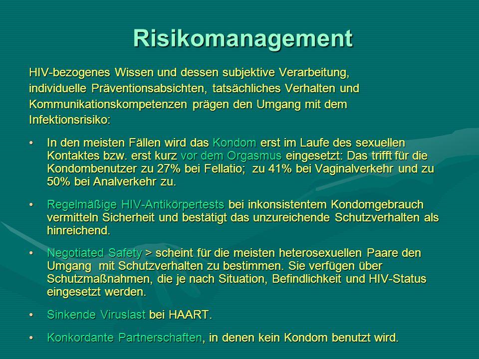 Risikomanagement HIV-bezogenes Wissen und dessen subjektive Verarbeitung, individuelle Präventionsabsichten, tatsächliches Verhalten und.