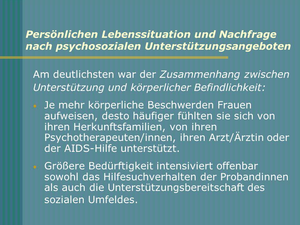 Persönlichen Lebenssituation und Nachfrage nach psychosozialen Unterstützungsangeboten