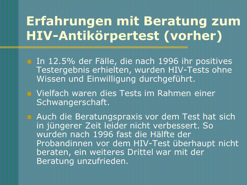 Erfahrungen mit Beratung zum HIV-Antikörpertest (vorher)
