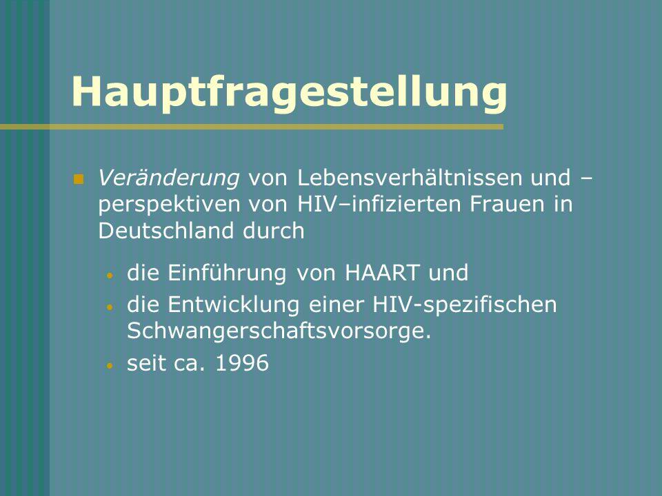 Hauptfragestellung Veränderung von Lebensverhältnissen und –perspektiven von HIV–infizierten Frauen in Deutschland durch.