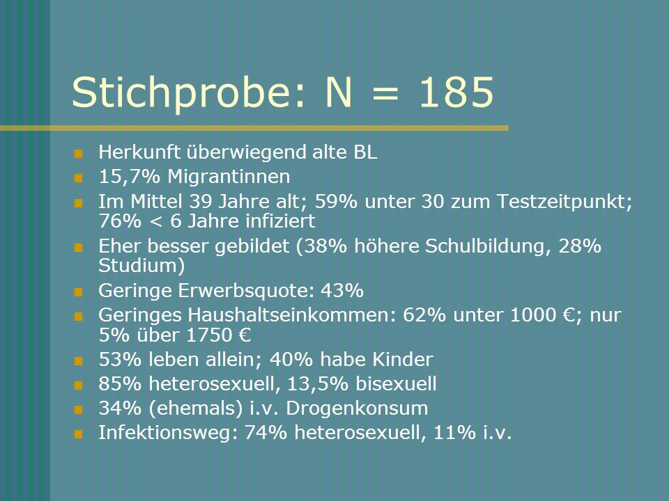 Stichprobe: N = 185 Herkunft überwiegend alte BL 15,7% Migrantinnen