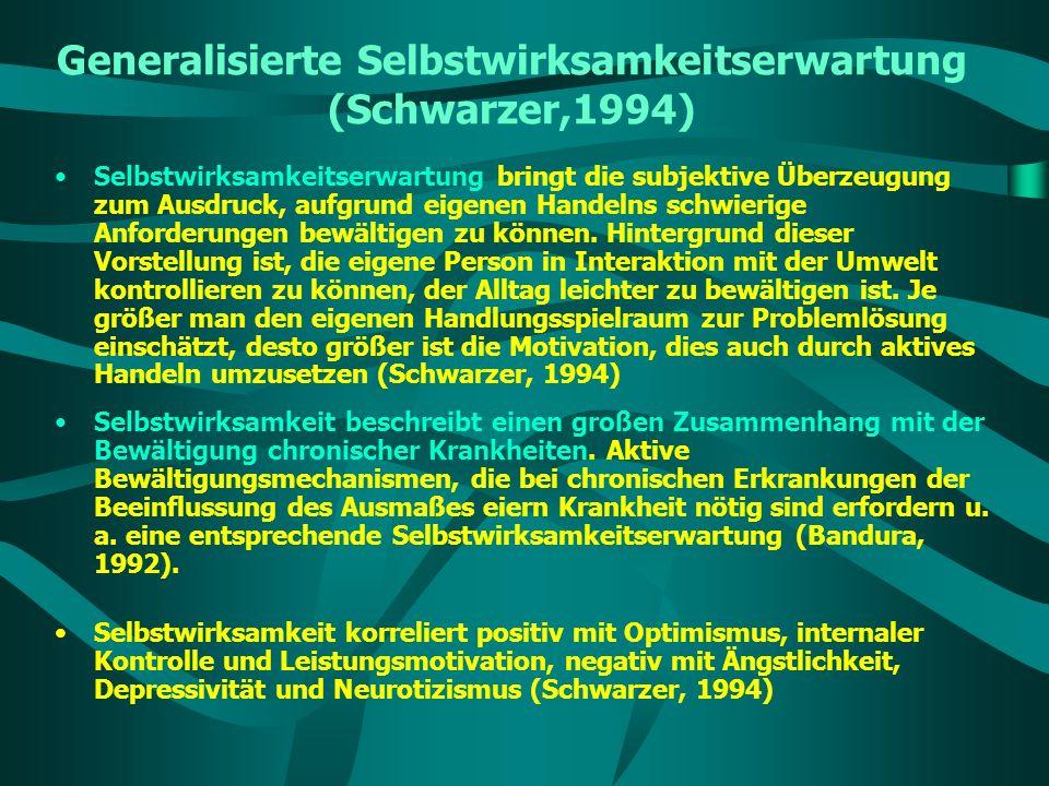 Generalisierte Selbstwirksamkeitserwartung (Schwarzer,1994)