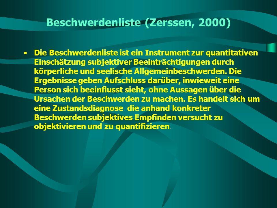 Beschwerdenliste (Zerssen, 2000)