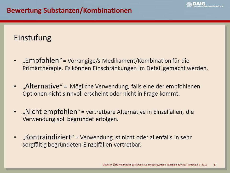 Bewertung Substanzen/Kombinationen