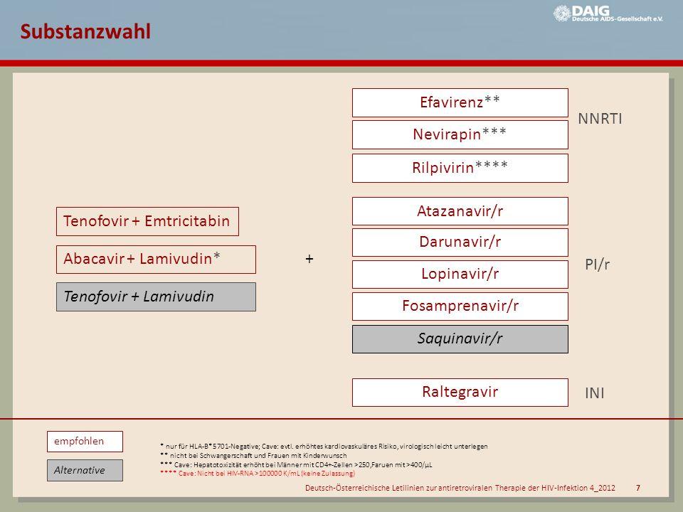 Substanzwahl Efavirenz** NNRTI Nevirapin*** Rilpivirin****
