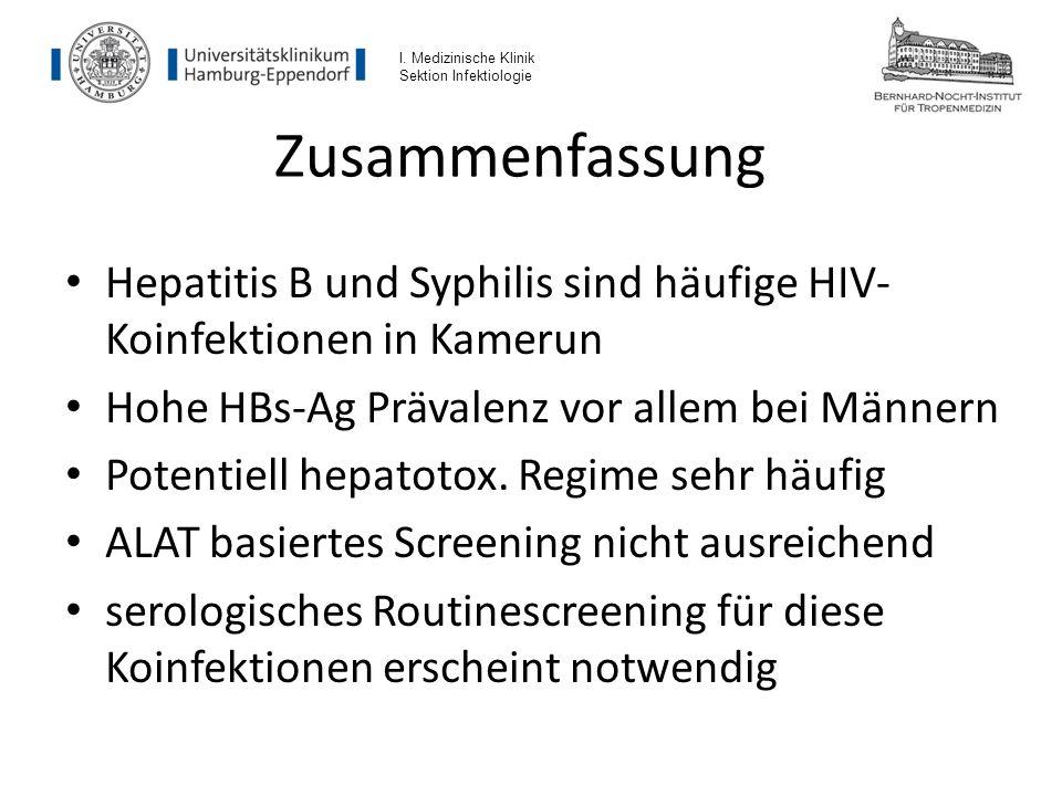 I. Medizinische Klinik Sektion Infektiologie. Zusammenfassung. Hepatitis B und Syphilis sind häufige HIV-Koinfektionen in Kamerun.