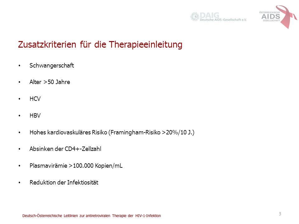 Zusatzkriterien für die Therapieeinleitung