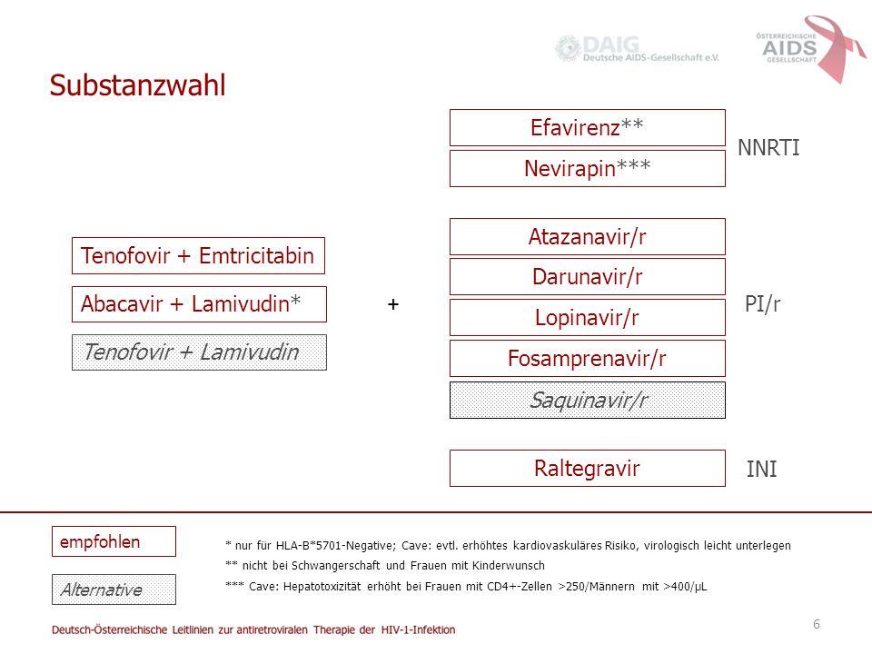 Substanzwahl Efavirenz** NNRTI Nevirapin*** Atazanavir/r