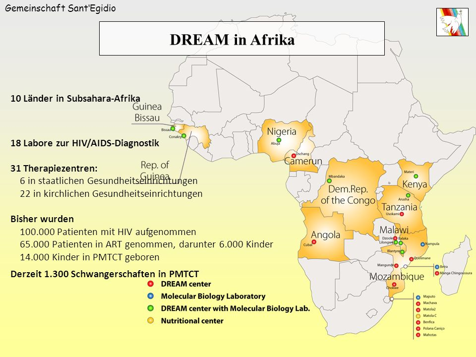 DREAM in Afrika 10 Länder in Subsahara-Afrika