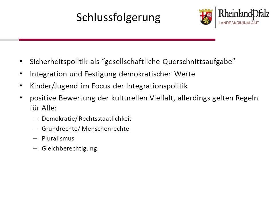 SchlussfolgerungSicherheitspolitik als gesellschaftliche Querschnittsaufgabe Integration und Festigung demokratischer Werte.