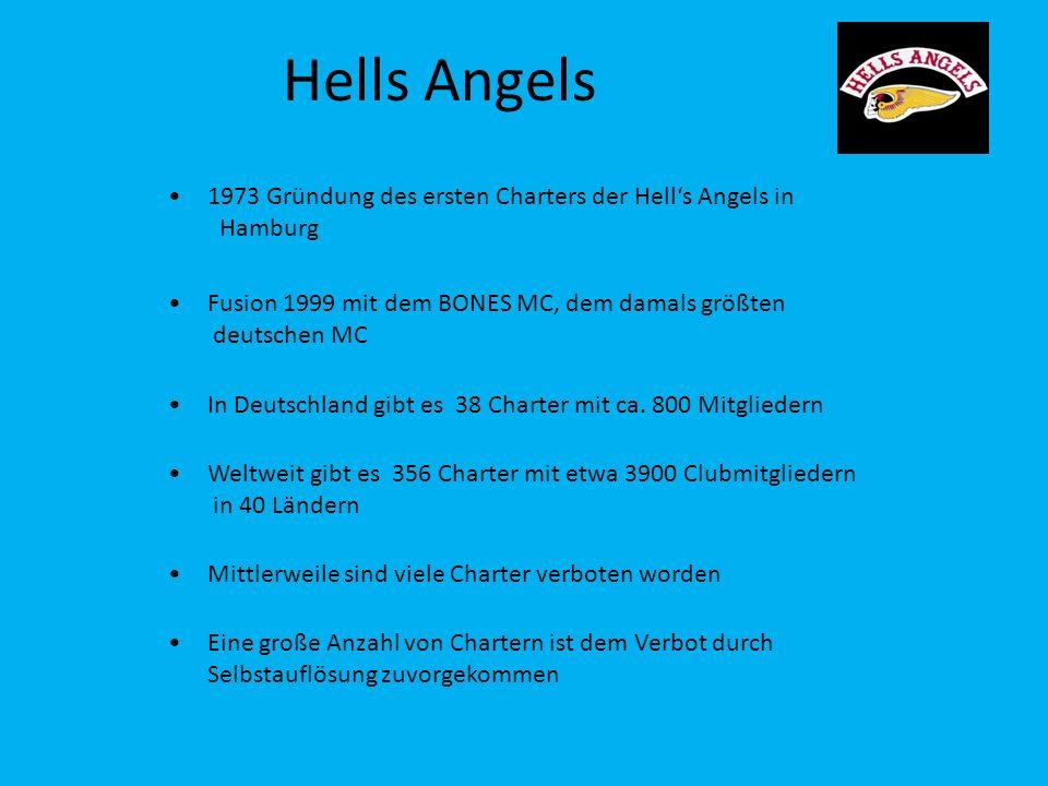 Hells Angels 1973 Gründung des ersten Charters der Hell's Angels in Hamburg. Fusion 1999 mit dem BONES MC, dem damals größten deutschen MC.