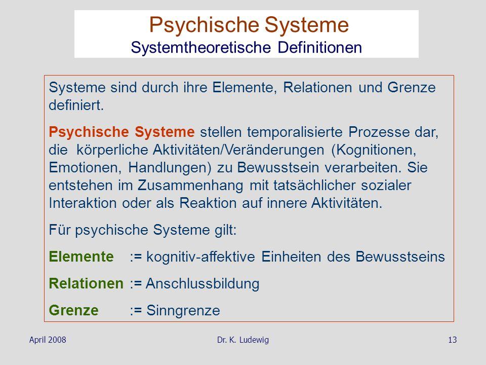 Psychische Systeme Systemtheoretische Definitionen