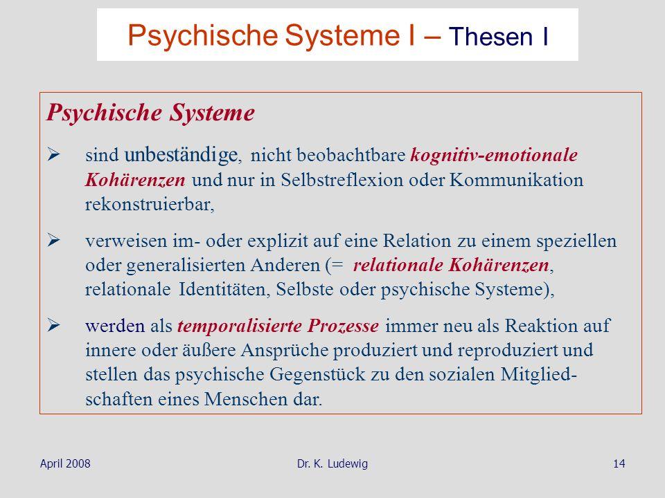 Psychische Systeme I – Thesen I