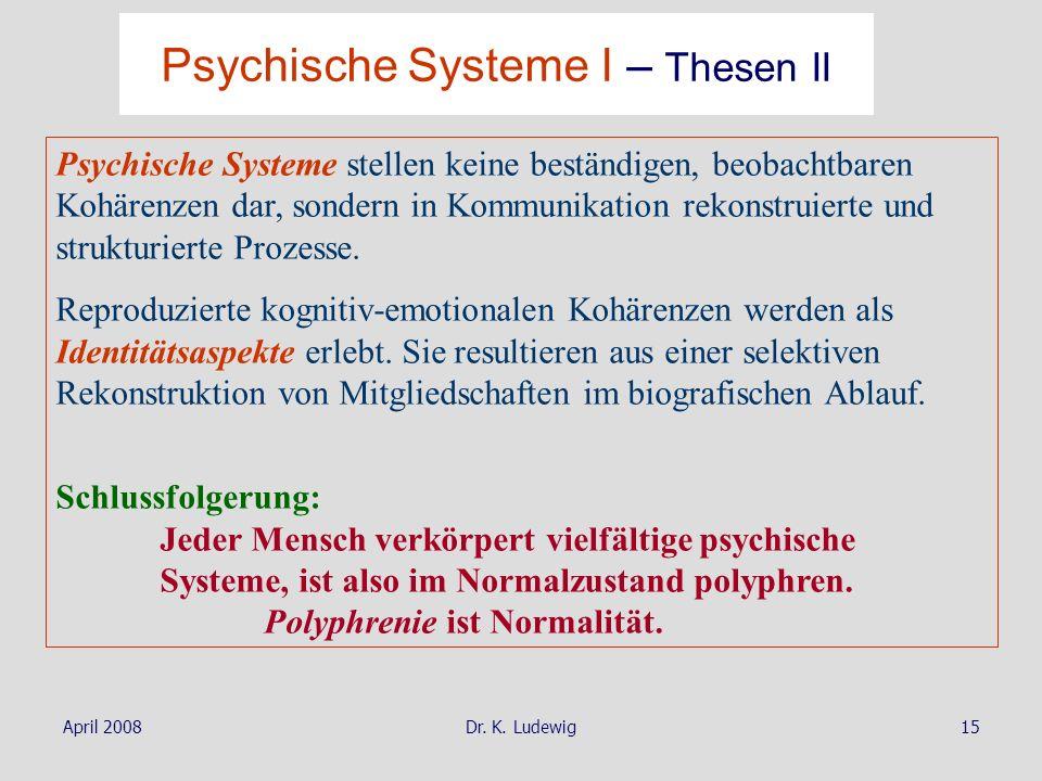 Psychische Systeme I – Thesen II