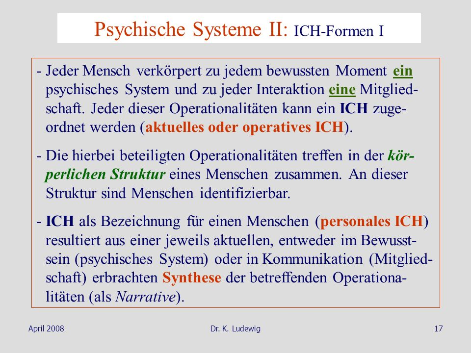 Psychische Systeme II: ICH-Formen I