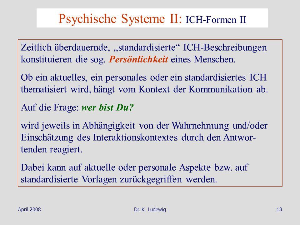 Psychische Systeme II: ICH-Formen II