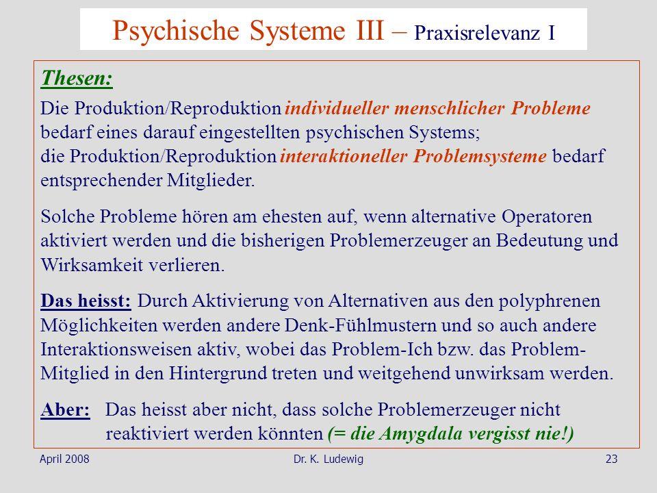 Psychische Systeme III – Praxisrelevanz I