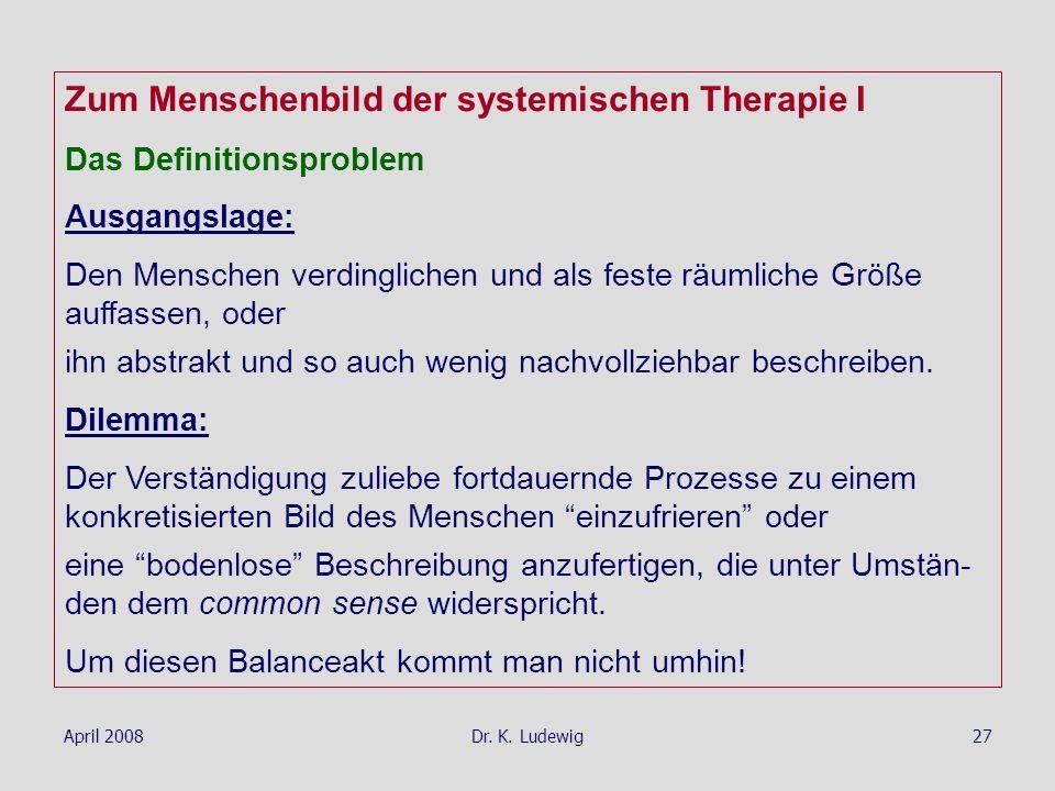 Zum Menschenbild der systemischen Therapie I