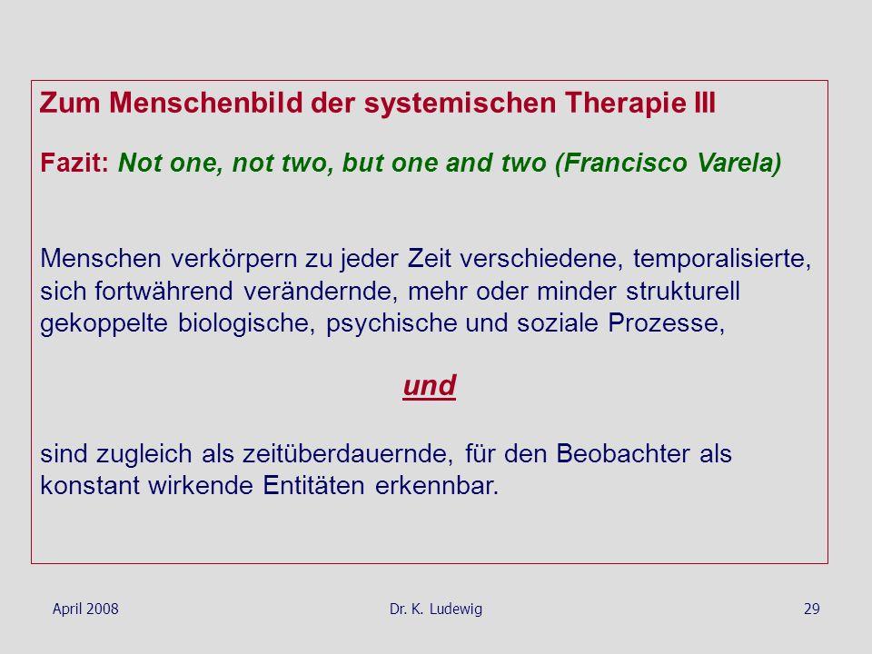 Zum Menschenbild der systemischen Therapie III
