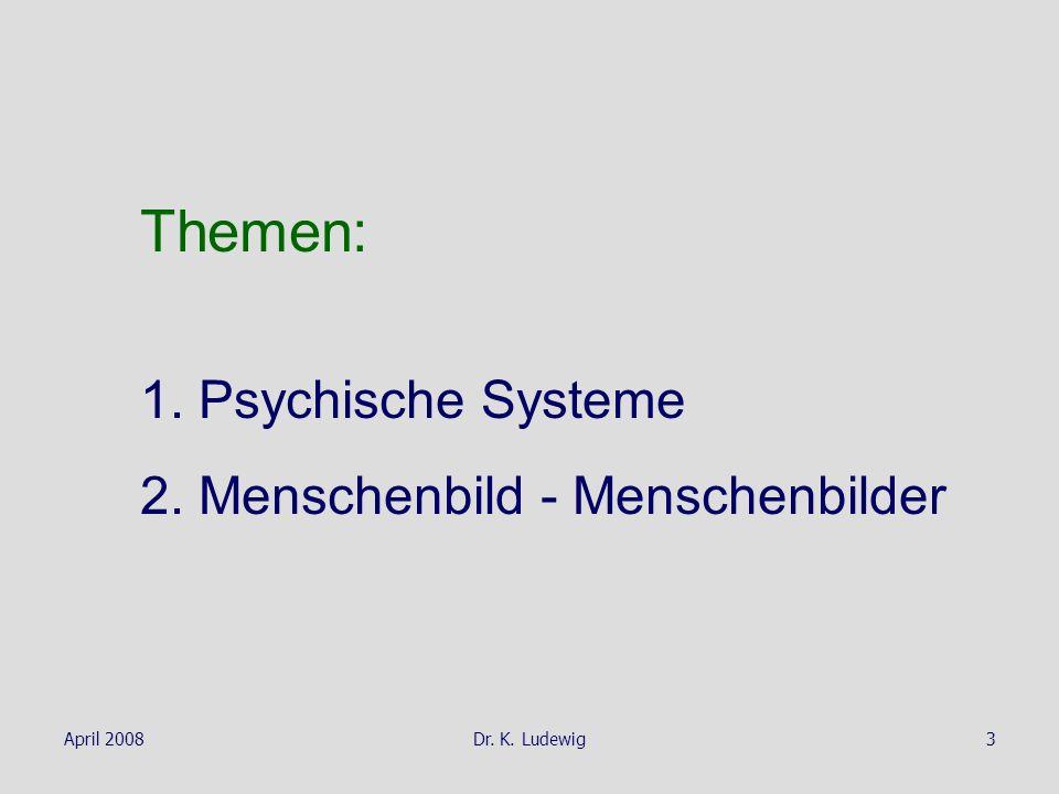 Themen: 1. Psychische Systeme 2. Menschenbild - Menschenbilder