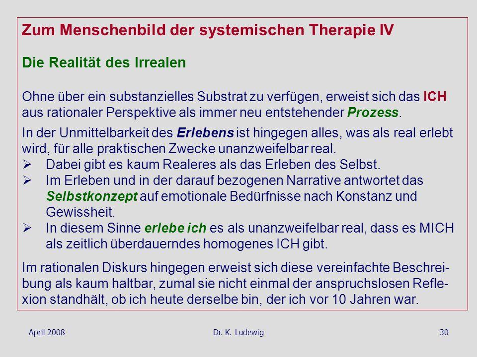 Zum Menschenbild der systemischen Therapie IV