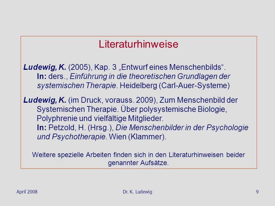 """Literaturhinweise Ludewig, K. (2005), Kap. 3 """"Entwurf eines Menschenbilds ."""