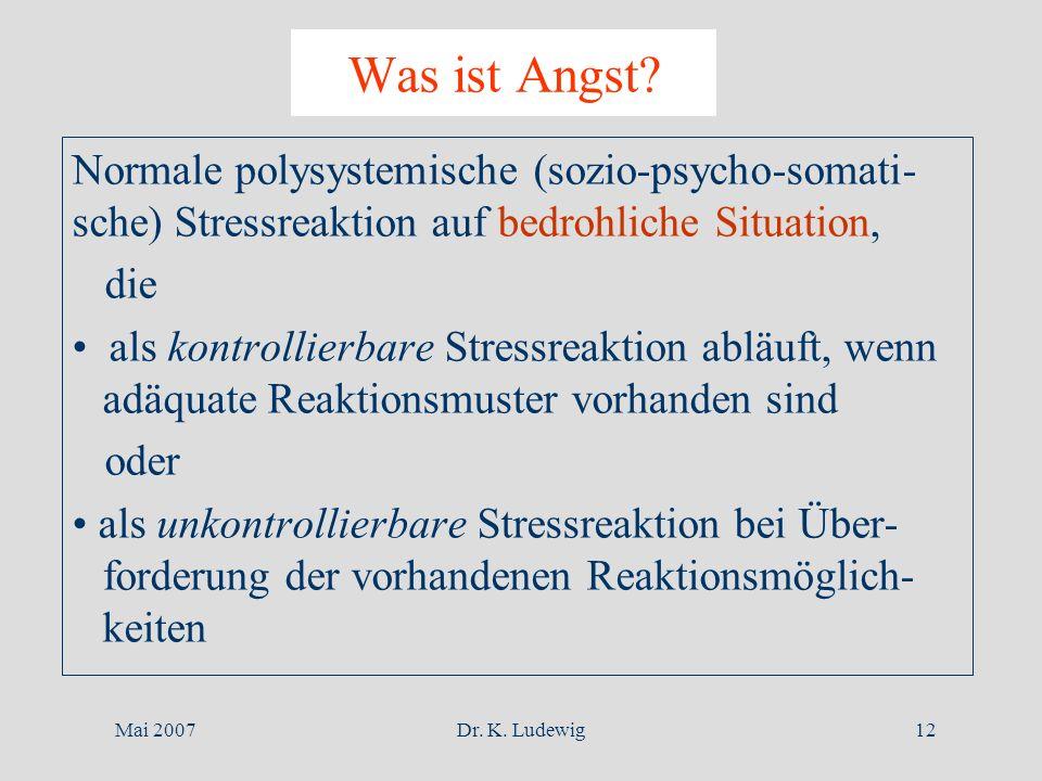 Was ist Angst Normale polysystemische (sozio-psycho-somati-sche) Stressreaktion auf bedrohliche Situation,