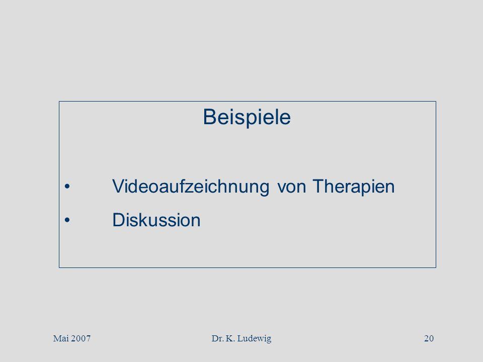 Beispiele Videoaufzeichnung von Therapien Diskussion Mai 2007