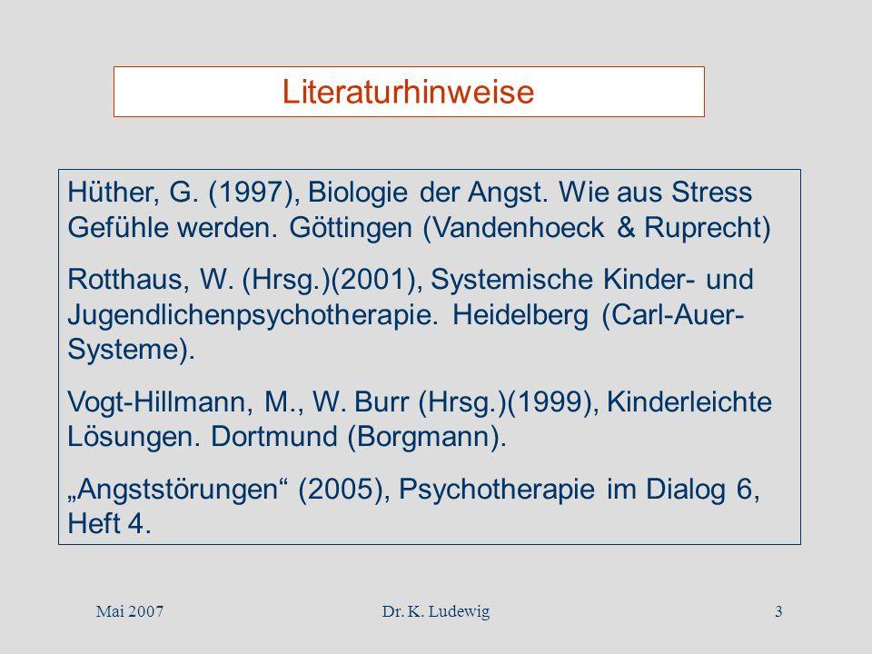 Literaturhinweise Hüther, G. (1997), Biologie der Angst. Wie aus Stress Gefühle werden. Göttingen (Vandenhoeck & Ruprecht)