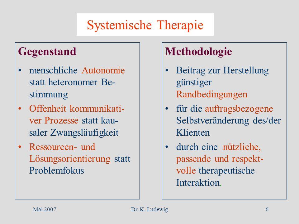 Systemische Therapie Gegenstand Methodologie