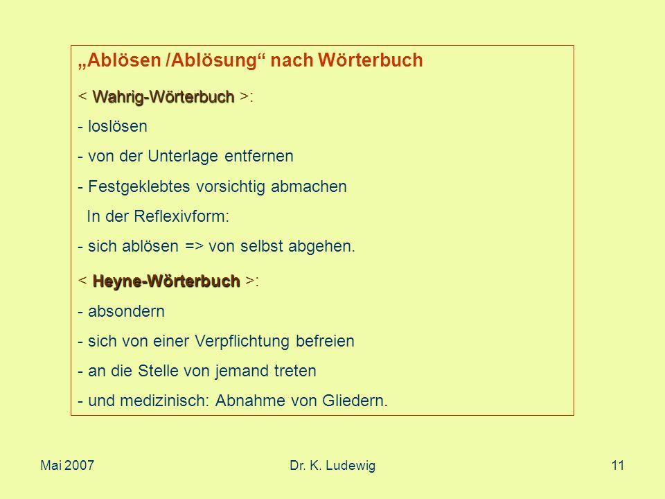"""""""Ablösen /Ablösung nach Wörterbuch"""