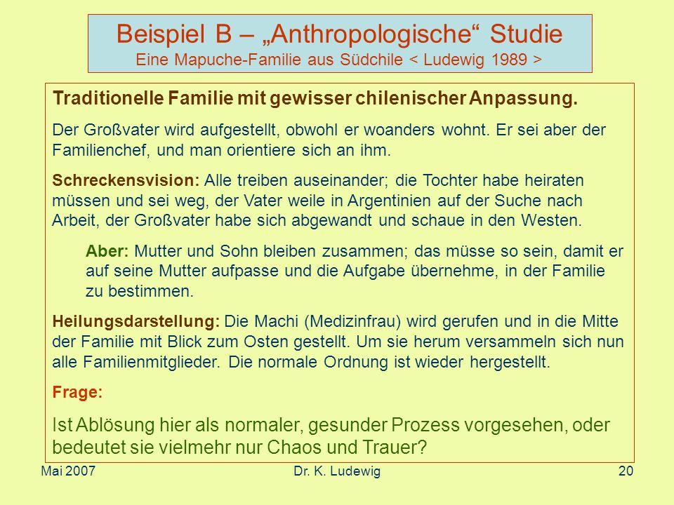 """Beispiel B – """"Anthropologische Studie Eine Mapuche-Familie aus Südchile < Ludewig 1989 >"""