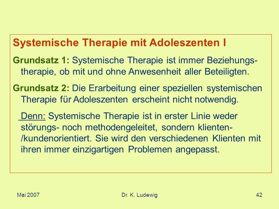 Systemische Therapie mit Adoleszenten I