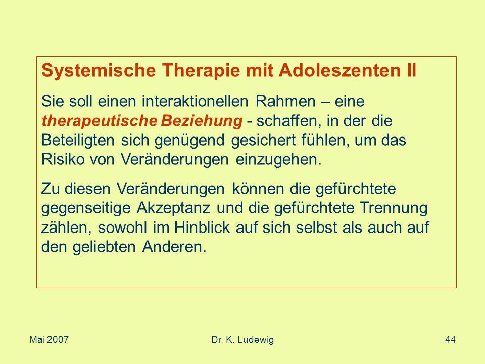 Systemische Therapie mit Adoleszenten II