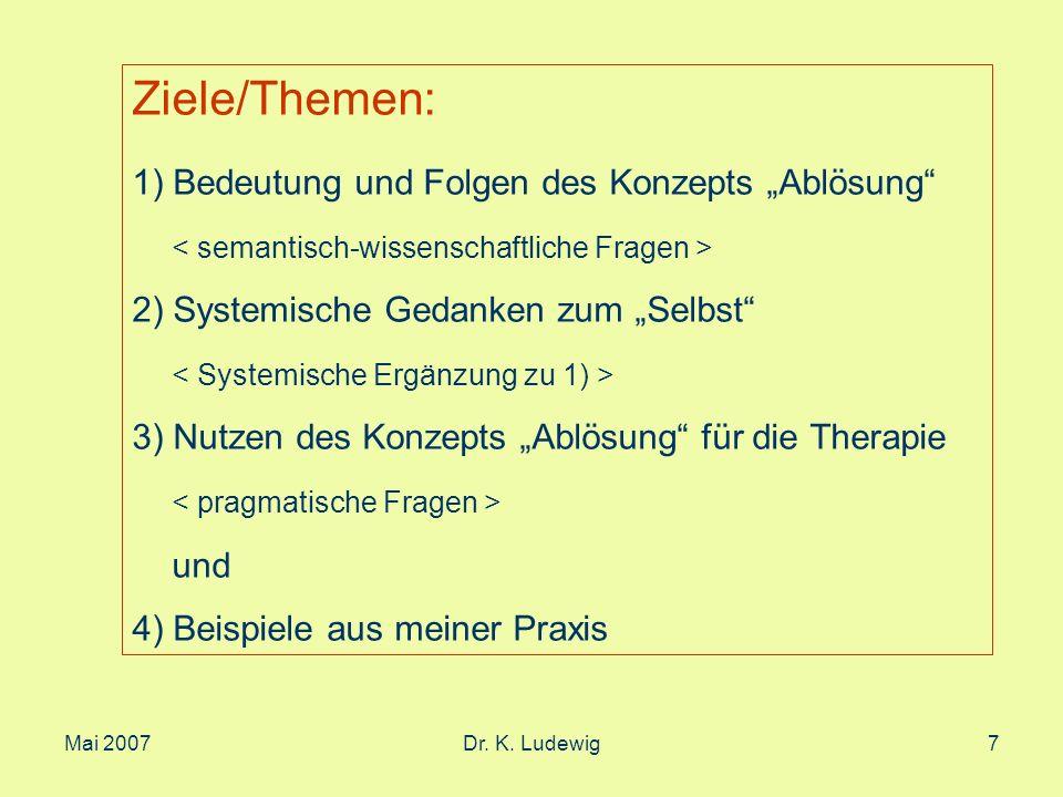 """Ziele/Themen: 1) Bedeutung und Folgen des Konzepts """"Ablösung"""