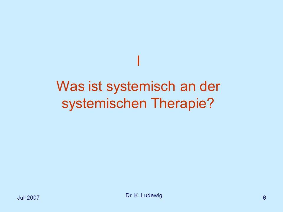 Was ist systemisch an der systemischen Therapie