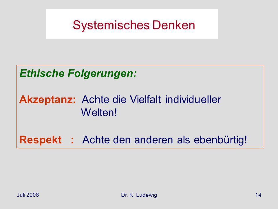 Systemisches Denken Ethische Folgerungen: