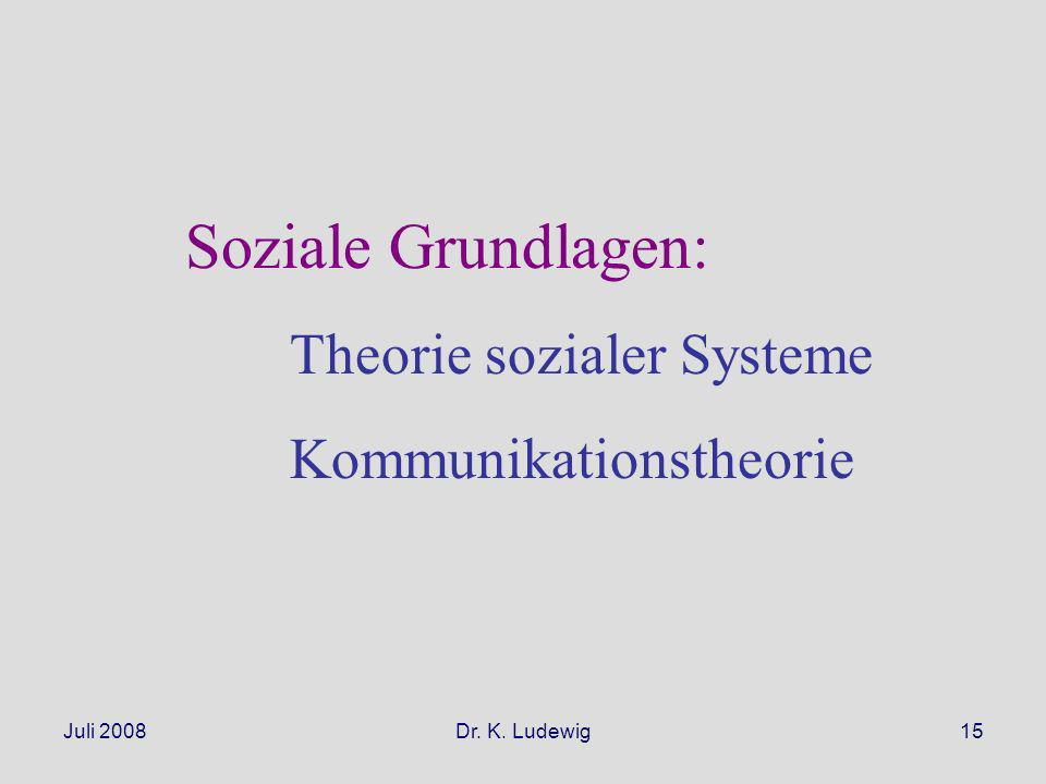Soziale Grundlagen: Theorie sozialer Systeme Kommunikationstheorie