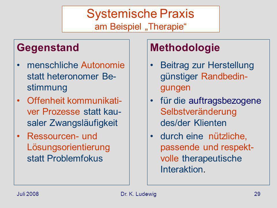 """Systemische Praxis am Beispiel """"Therapie"""