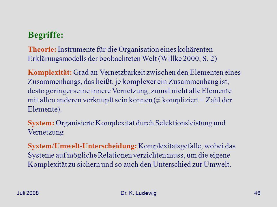 Begriffe: Theorie: Instrumente für die Organisation eines kohärenten Erklärungsmodells der beobachteten Welt (Willke 2000, S. 2)
