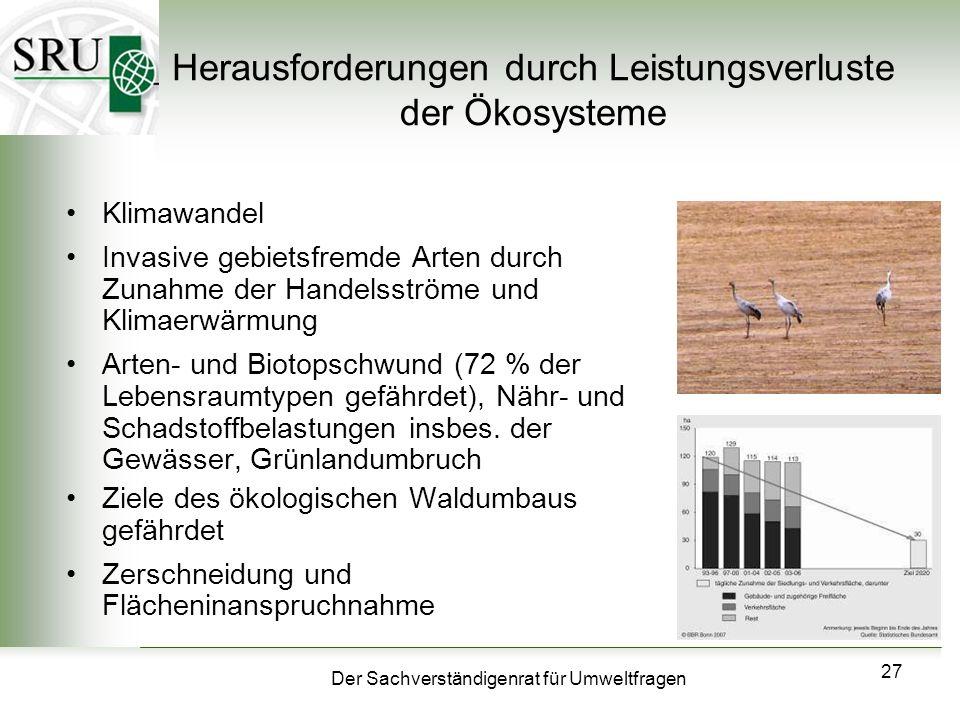 Herausforderungen durch Leistungsverluste der Ökosysteme